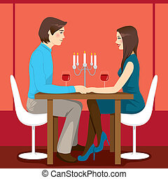 cena, romántico, aniversario