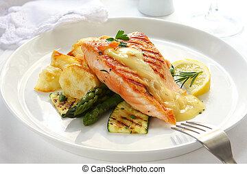 cena, salmón