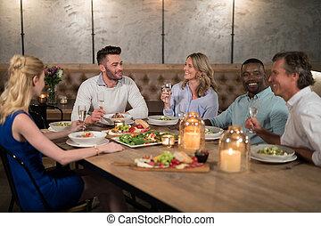 cenar, amigos, restaurante, juntos