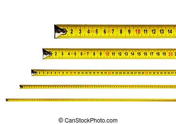 centímetros, medida, cinta