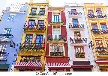 central, colorido, fachadas, frente, mercado, valencia, españa