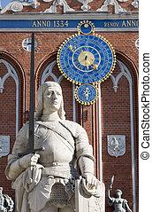 central, riga, monumento, roland, cuadrado, letonia, s.