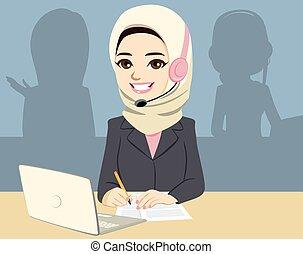 centro, asiático, llamada, musulmán, mujer