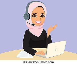 centro de la llamada, mujer, musulmán