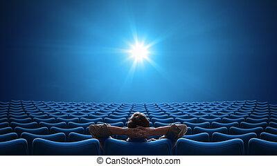 centro, formato, persona, 16:9, cine, sentado