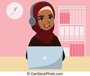 centro, llamada, negro, musulmán, mujer