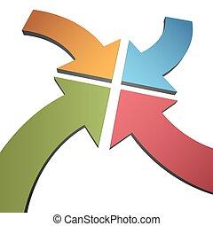 centro, punto, color, curva, flechas, convergir, cuatro, 3d