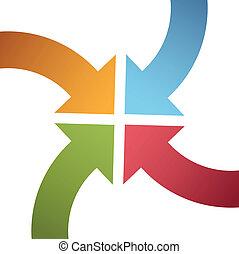 centro, punto, color, curva, flechas, convergir, cuatro