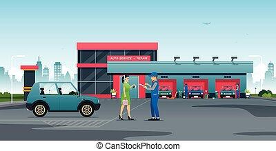 centro, reparación, servicio, automóvil