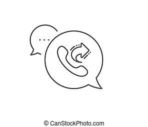 centro, signo., llamada, icon., acción, teléfono, línea de saque, vector