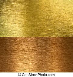 Cepillado de bronce y texturas de bronce