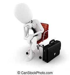 cepillado, movimiento, sentado, ejecutivo, luego, plano de fondo, blanco, hombre, silla, 3d