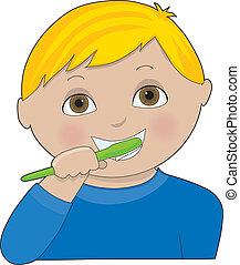 cepillado, niño, dientes