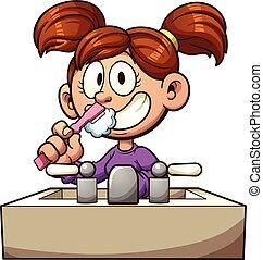 Cepillando dientes