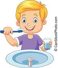 cepillar dientes, lindo, niño pequeño