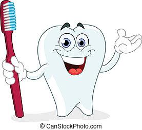cepillo de dientes, caricatura, diente