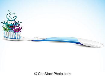 Cepillo de dientes con bacterias