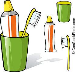 cepillo de dientes, pasta dentífrica, taza