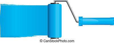 Cepillo de pintura azul con pintura azul, parte 2, ilustración vectora