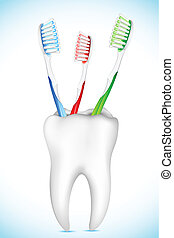 Cepillo dental en el puesto de dientes