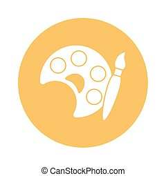cepillo, diseño, estilo, icono, pintura, vector, bloque, paleta