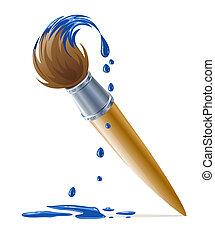 Cepillo por pintura con pintura azul chorreante