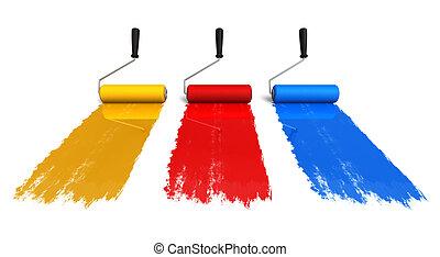 Cepillos de colores con rastros de pintura