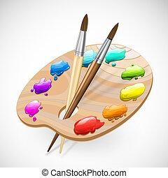 Cepillos de palette, lápiz y pintura