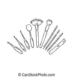 cepillos, mano, isolated., maquillaje, set., kit., vector, dibujado