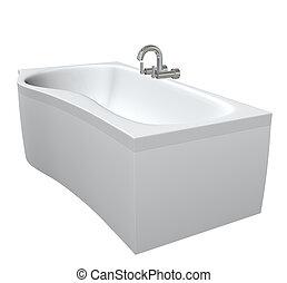 Cerámica o bañera de acrílicos con filtros cromados y grifos, 3d ilustración, aislados contra un fondo blanco