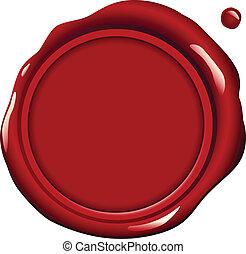 cera, rojo, sello