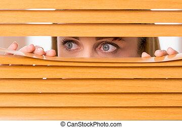 Cerca de ojos femeninos mirando fuera de las persianas. Cepillo en la cara de una mujer