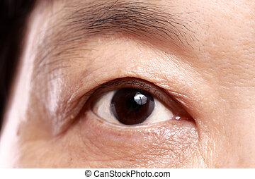 Cerca del ojo de una anciana