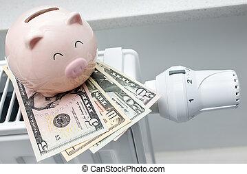 cerdito, dinero, termostato, banco, calefacción