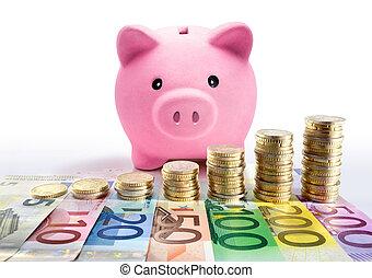 cerdito, moneda, euro, pilas, banco