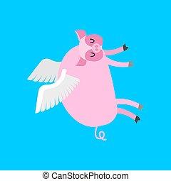 cerdito, vuelo, wings., cerdo, ilustración, vector, cartoon.