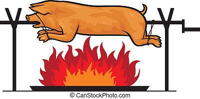 Cerdo asado en una saliva