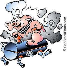 Cerdo Chef montando un barril BBQ