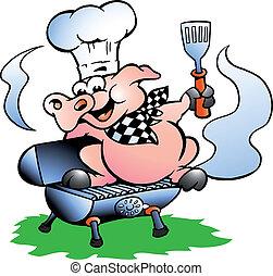 Cerdo Chef parado sobre un barril BBQ