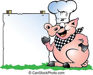 Cerdo Chef parado y apuntando
