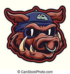Cerdo con casco de aviador con gafas