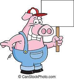 Cerdo de dibujos animados con un mono sosteniendo una S