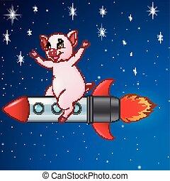 Cerdo de dibujos animados en un cohete volador