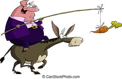 Cerdo en un burro