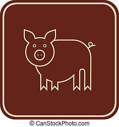 Cerdo, icono del vector