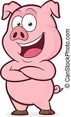 cerdo, manos dobladas