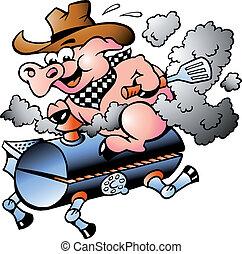 Cerdo montando en un barril de barbacoa