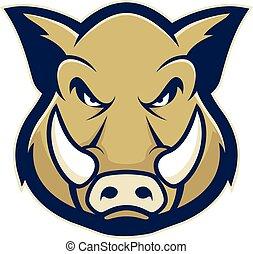 cerdo, o, verraco, mascota, salvaje, cabeza