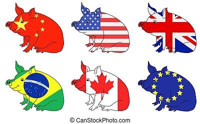 cerdo, producir, países