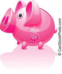 Cerdo rosado con signo de dólar